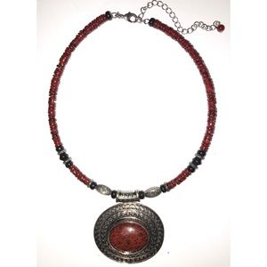Choker necklace brown stone amber brown beads